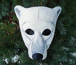 made to order polar bear leather mask masquerade costume