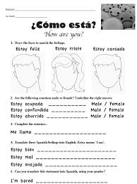 spanish worksheet emotions