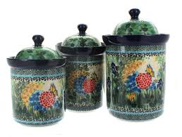 teresa 3pc canister set blue rose polish pottery polish