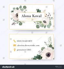 floral business card floral business card design vintage anemone stock vector 741024937