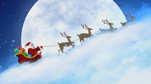 santa claus flying in the sky with christmas music piano relax