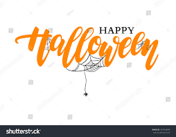 happy halloween clipart banner happy halloween vector lettering holiday calligraphy stock vector