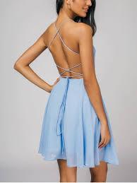 open back criss cross cami dress light blue mini dresses m zaful