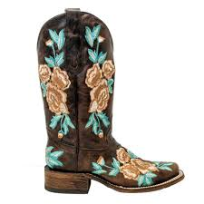 womens corral boots size 12 corral womens chocolate floral embroidery square toe boots
