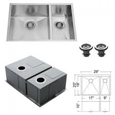 kitchen sink and faucet combo vigo vg15026 16 stainless steel zero edge 60 40 bowl