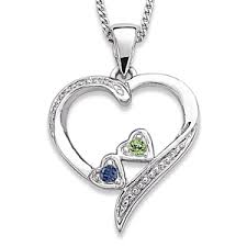 birthstone necklaces for mothers loving heart family pendant necklace with 2 birthstones bliss