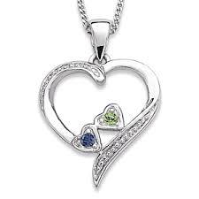 mothers pendants with birthstones loving heart family pendant necklace with 2 birthstones bliss
