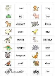 Esl Vocabulary Worksheets Animal Dominoes Engels English Pinterest Animal English