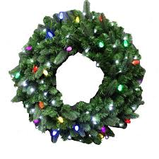 36 in led pre lit artificial wreath with concave