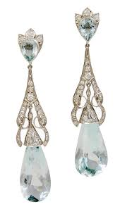 diamond teardrop earrings deco aquamarine diamond teardrop earrings for sale at 1stdibs