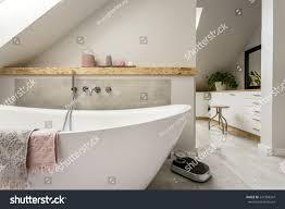 freestanding bath towels grey modern bathroom stock photo