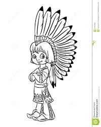 indian chief boy illustration coloring pages royalty free stock