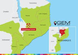 Mozambique Map Mosambik Granat Gem Adventurer