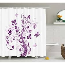 mauve decor shower curtain embellish tree with swirled branches