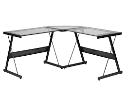 Glass L Shaped Desk Amazon Com Z Line Designs Solano L Desk Black Kitchen U0026 Dining