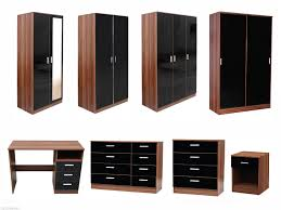 NEW Caspian High Gloss Black Amp Walnut Bedroom Furniture Set - White high gloss bedroom furniture set