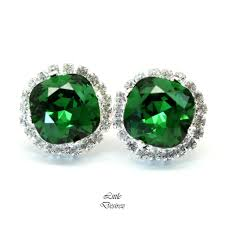 green stud earrings green stud earrings swarovski emerald dm 50 desirez
