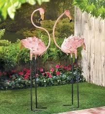 metal flamingo garden decor 2 flamingos statue iron yard