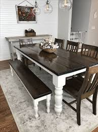 white table with bench farmhouse table and bench home plans