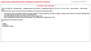 warehouse supervisor work experience certificate