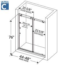 Shower Door Width 48 W X 76 H Sliding Shower Door Ultra C