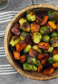 roasted veggies thanksgiving roasted brussels sprouts and squash with dijon vinaigrette