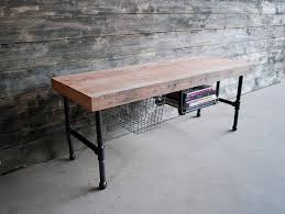 Steel Pipe Desk by Pipe Media Console Console Desk W Steel Pipe Legs And Built In
