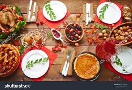 table thanksgiving high angle view table served thanksgiving stock photo 307156943