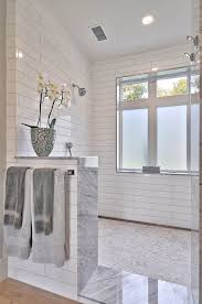open shower open shower with half wall open shower without doors