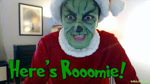 grinch cosplay with a rendition of the night before christmas