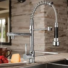 single kitchen faucet with pull out spray byb chrome modern designer single handle pull out spray pre