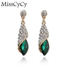 earrings brand fashion brand alloy gold colors statement austria blue