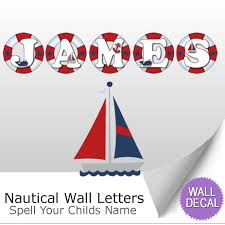 name wall letters alphabet stickers initial decals boys ocean nautical ocean name wall letter stickers