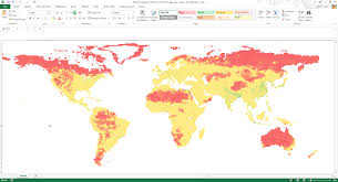 Population World Map by Opening The Islscp Ii Data In Microsoft Excel And Applying