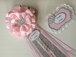 princess baby shower corsage set mommy to be and daddy to be