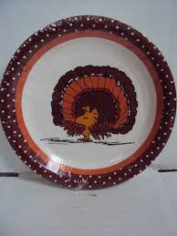 peanuts woodstock thanksgiving dessert plates snoopy brown