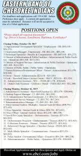 Jobs Hiring No Resume Needed by Employment The Cherokee One Feather