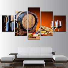 Grapes And Wine Home Decor Canvas Prints Paintings Wall Home Decor Frameless 5 Pieces