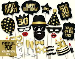 30th birthday decorations 30th birthday photo booth props printable pdf black and