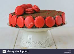 chocolate cake with a decor of macarons stock photo royalty free