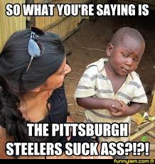 Pittsburgh Steelers Suck Memes - so what you re saying is the pittsburgh steelers suck ass