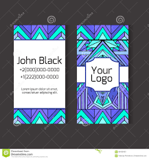 template two sided business card with ethno pattern stock vector