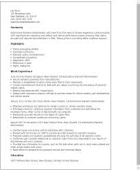 Sample Of Resume In Australia by Professional Automotive Warranty Administrator Templates To
