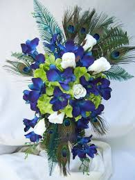 blue dendrobium orchids barbara s peacock silk cascade bridal bouquet blue violet and
