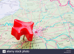 Push Pin Map Map Of France With Push Pin Plane Over Paris Stock Photo Royalty