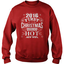 women u0027s 2016 first christmas with my new wife t shirt