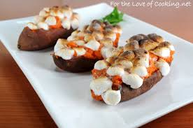 baked maple cinnamon yams with mini marshmallows for the