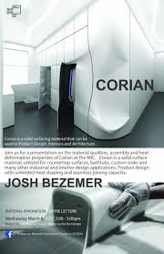 corian material material innovation centre presents lecture with josh beezemer f