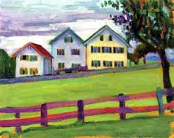 three houses artwork by gabrielle münter three houses in murnau 1909