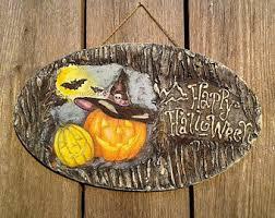 spooky halloween sign fall door decor sign happy halloween